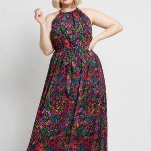 MODCLOTH illuminated elegance chiffon Maxi dress
